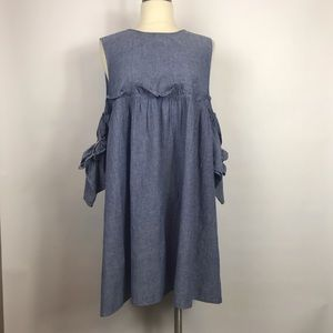Boohoo off the shoulder chambray dress